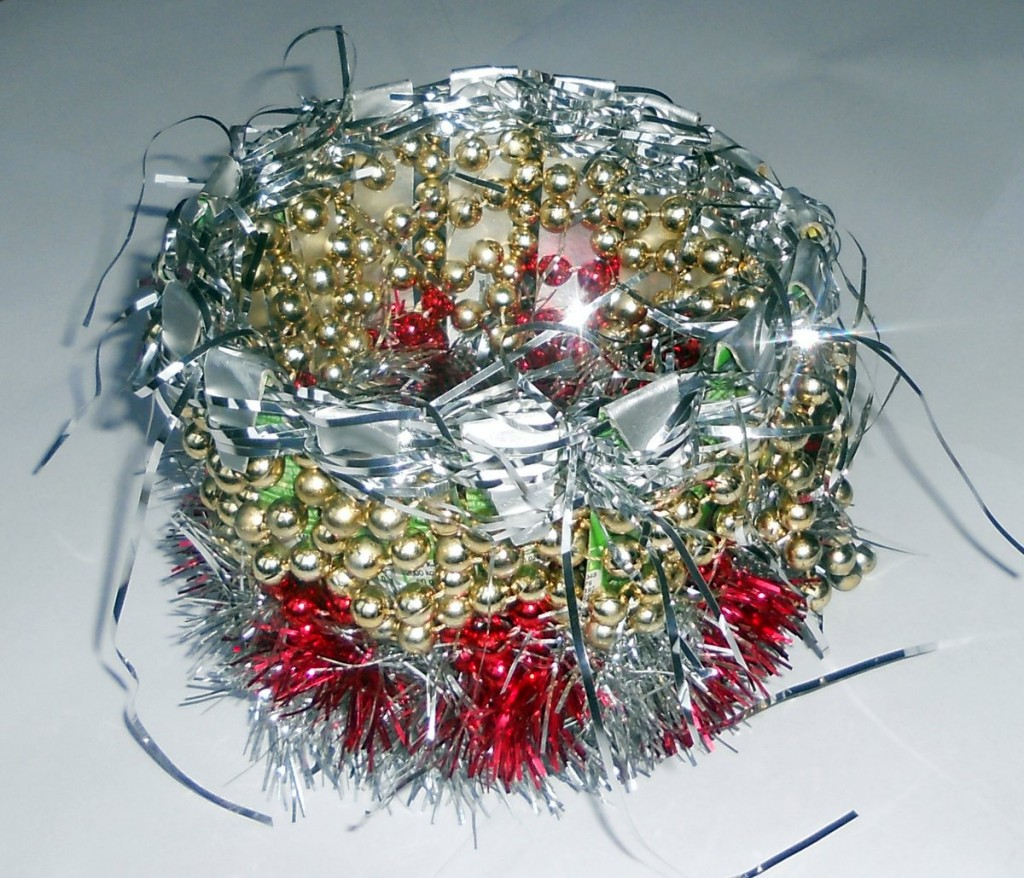 Basket made from a Pringles Packet and Christmas Decorations