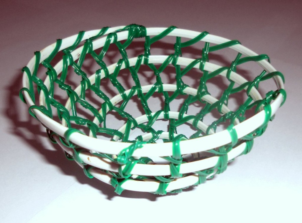 Basket made from Telephone Cable and Garden Tie Wire