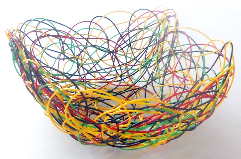 Shallow Basket made from Telephone Wires